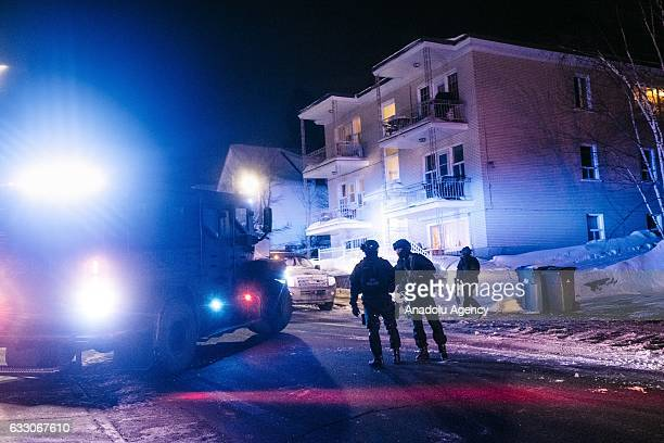 Canadian security forces patrol after a shooting in the Islamic Cultural Centre of Quebec in Quebec city on January 29 2017 Five people are dead and...