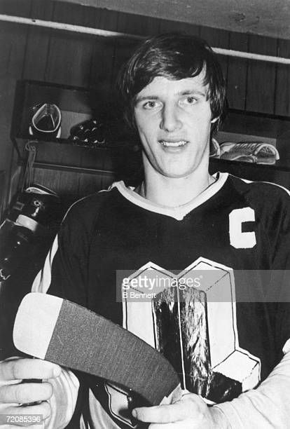 Canadian semiprofessional ice hockey player Mike Bossy of the OHL's Laval Nationale poses for a portrait in a locker room 1970s Bossy played for the...