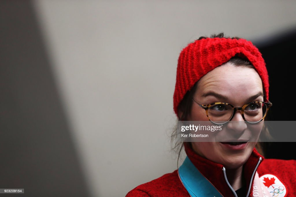 Canadian short track speed skater Kim Boutin attends a press conference on day fourteen of the 2018 PyeongChang Winter Olympic Games on February 23, 2018 in Pyeongchang-gun, South Korea.