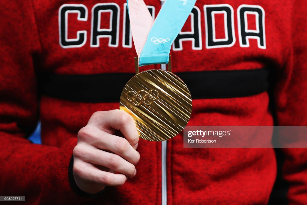 Canadian short track speed skating gold medalist Samuel Girard attends a press conference on day fourteen of the 2018 PyeongChang Winter Olympic Games on February 23, 2018 in Pyeongchang-gun, South Korea.