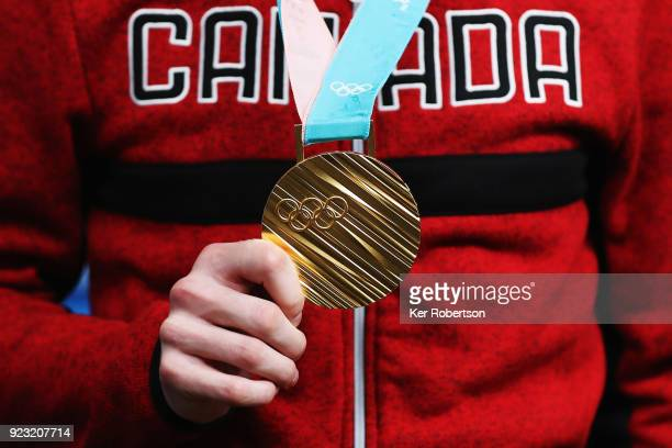 Canadian short track speed skating gold medalist Samuel Girard attends a press conference on day fourteen of the 2018 PyeongChang Winter Olympic...