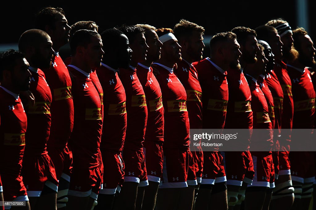 Canadian side sing their national anthem before the pre-Rugby World Cup International Friendly match between Fiji and Canada at Twickenham Stoop on September 6, 2015 in London, England.
