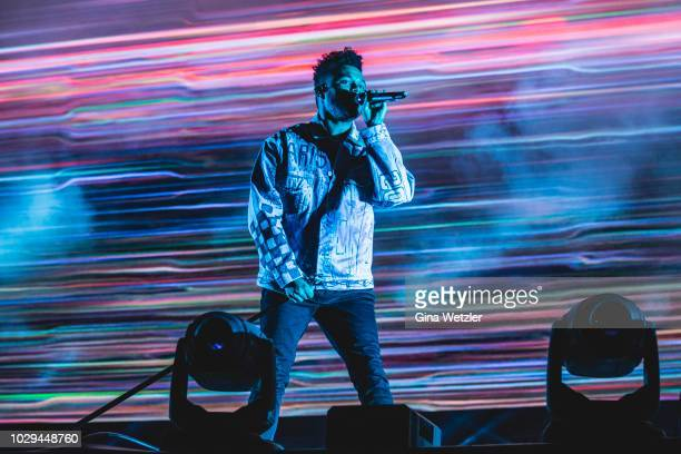 Canadian singer Abel Makkonen Tesfaye aka The Weeknd performs live on stage during the first day of the Lollapalooza Berlin music festival at...