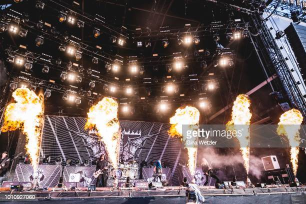 Canadian singer Alissa WhiteGluz of the swedish band Arch Enemy performs live on stage during the Wacken Open Air festival on August 4 2018 in Wacken...