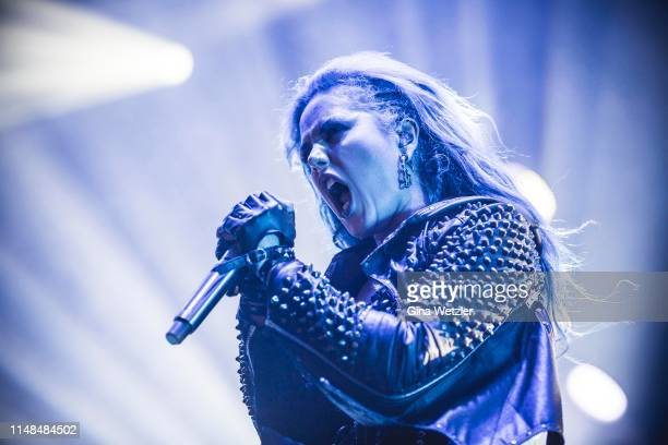 Canadian singer Alissa White-Gluz of the swedish band Arch Enemy performs live on stage during Rock am Ring at Nuerburgring on June 7, 2019 in...