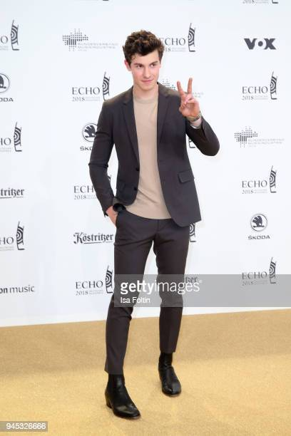 Canadian singer and composer Shawn Mendes arrives for the Echo Award at Messe Berlin on April 12 2018 in Berlin Germany