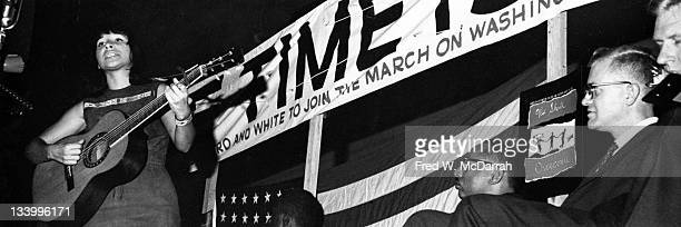 Canadian singer and songwriter Buffy SainteMarie performs during the March on Washington for Jobs and Freedom Washington DC August 28 1963