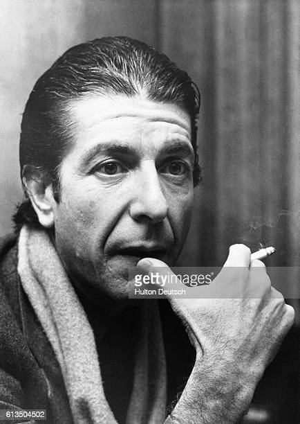 Canadian singer and songwriter Leonard Cohen photographed while taking a break from his British tour 1974 Pictured at his hotel this morning while...