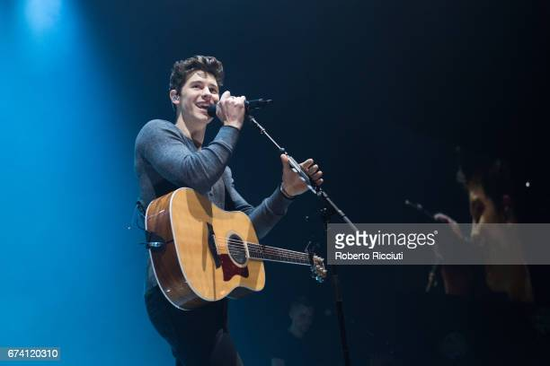 Canadian singer and songwriter Shawn Mendes performs on stage during the first world show of 'Illuminate tour' at The Hydro on April 27 2017 in...