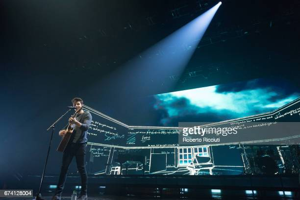 """Canadian singer and songwriter Shawn Mendes performs on stage during the first world show of """"Illuminate tour"""" at The Hydro on April 27, 2017 in..."""