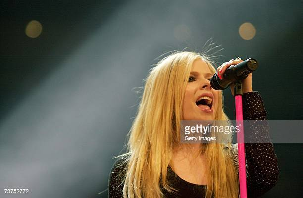 Canadian singer Avril Lavigne performs at the McFit Fight Night at the Cologne Arena on March 30 2007 in Cologne Germany