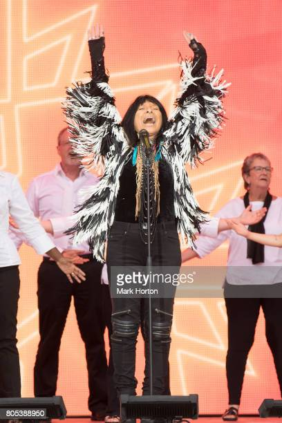 Canadian singer Buffy SainteMarie performs during Canada Day celebrations at Parliament Hill on July 1 2017 in Ottawa Canada