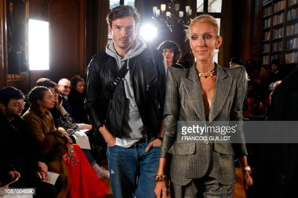 TOPSHOT Canadian singer Celine Dion and Spanish dancer Pepe Munoz arrive for the 2019 SpringSummer Haute Couture collection fashion show by RVDK...