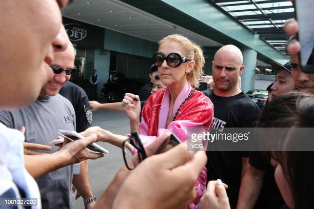 Canadian singer Celine Dion arrives at Taipei Songshan Airport on July 15 2018 in Taipei Taiwan of China