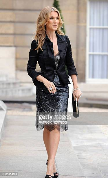 Canadian singer Celine Dion arrives at the Elysee palace to be awarded Knight in the order of The Legion of Honour by French President Nicolas...