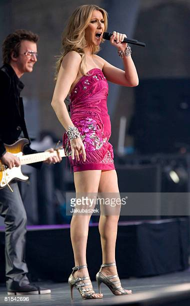 Canadian singer Celine Dion performs live during a concert at the Waldbuehne on June 12 2008 in Berlin Germany The concert is the tour start of the...