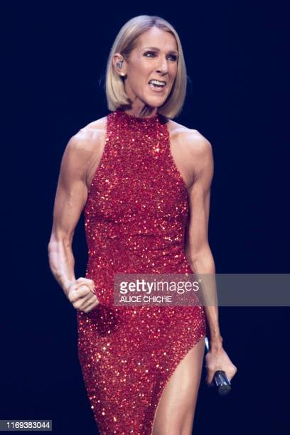 """Canadian singer Celine Dion performs on the opening night of her new world tour """"Courage"""" at the Videotron Centre in Quebec City, Quebec, on..."""