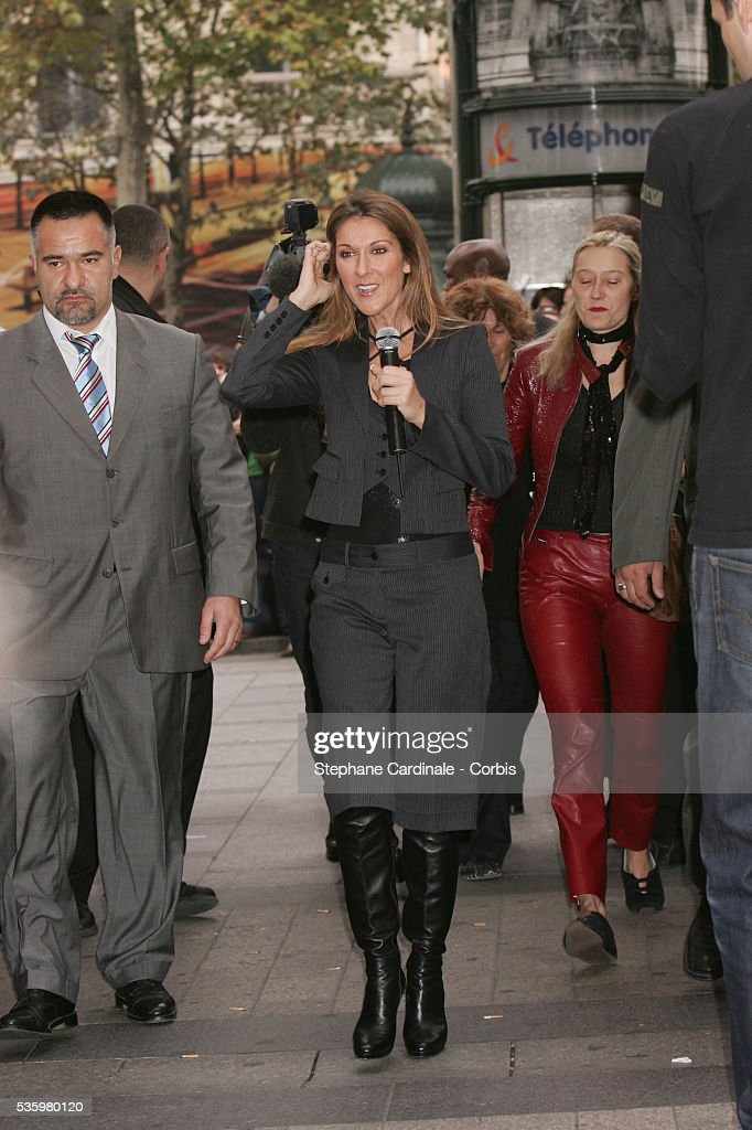 Canadian singer Celine Dion poses for a photocall in Paris.