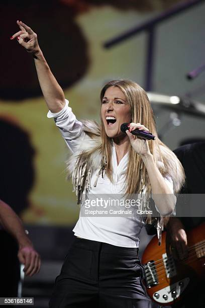Canadian singer Céline Dion performs on stage at the World Music Awards 2004 held at the Thomas and Mack Center in Las Vegas