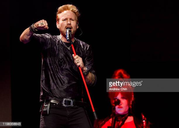 Canadian singer Corey Hart performs on stage at Rogers Arena on June 25 2019 in Vancouver Canada