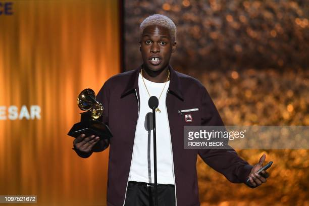 Canadian singer Daniel Caesar accepts the award for Best RB Performance for Best Part onstage during the 61st Annual Grammy Awards pretelecast show...