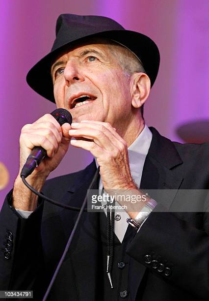 Canadian singer Leonard Cohen performs live during a concert at Waldbuehne on August 18 2010 in Berlin Germany