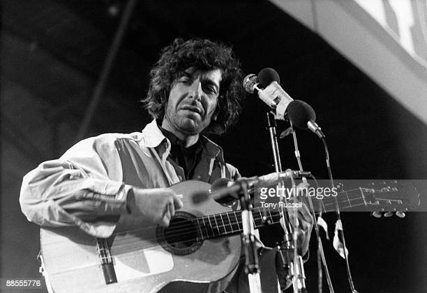 Canadian singer Leonard Cohen performs on stage at the Isle of Wight Festival on August 30 1970