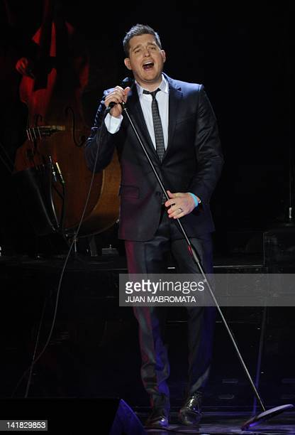 Canadian singer Michael Buble performs during the 'Crazy Love' tour at Luna Park stadium in Buenos Aires Argentina on March 24 2012 AFP PHOTO / Juan...