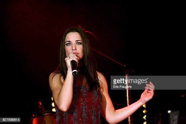 Canadian singer Natasha StPier performs on stage at the launching of the new TV channels 'M6 Music Rock' and 'M6 Music Black'