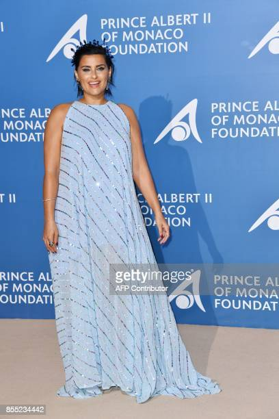 Canadian singer Nelly Furtado poses as she attends the MonteCarlo Gala for the Global Ocean in Monaco on September 28 2017 / AFP PHOTO / YANN...