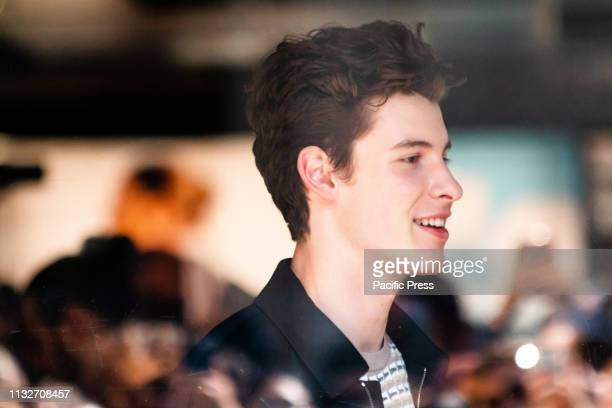 Canadian singer Shawn Mendes meet his fans outside Emporio Armani store in Milan