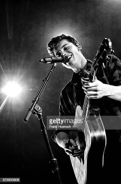 Canadian singer Shawn Mendes performs live during a concert at the Huxleys on April 24 2016 in Berlin Germany