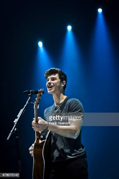 Canadian singer Shawn Mendes performs live on stage during a concert at the MercedesBenz Arena on May 3 2017 in Berlin Germany
