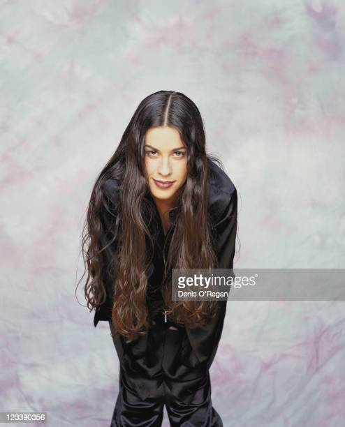 Canadian singer songwriter and guitarist Alanis Morissette backstage at the Birmingham NEC Arena December 13th 1995