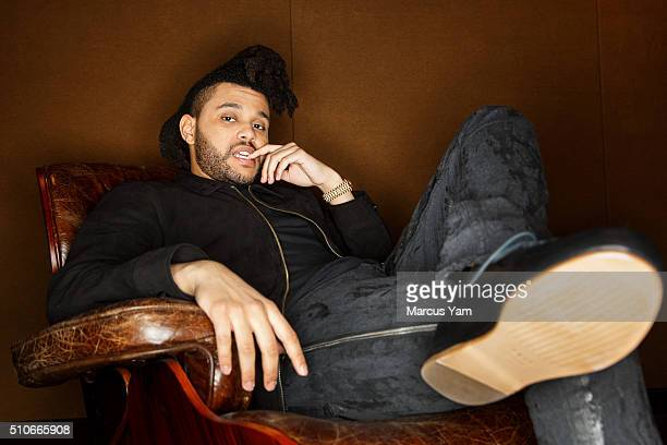 Canadian singer songwriter and record producer Abel Tesfaye also known as 'The Weeknd' is photographed for Los Angeles Times on February 5 2016 in...