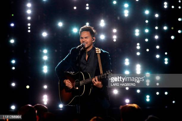 Canadian singer Tyler Shaw performs during the Juno Music Awards at Budweiser Gardens in London Ontario Canada on March 17 2019