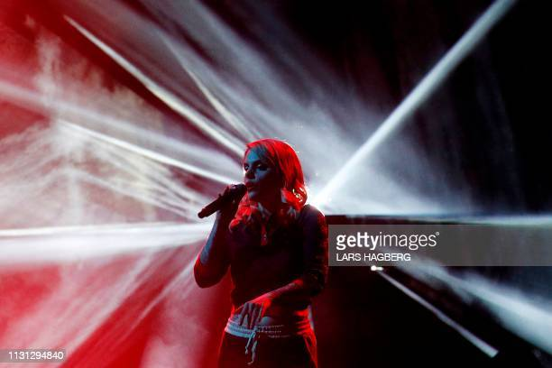 Canadian singer/songwriter Coeur de Pirate performs during the Juno Music Awards at Budweiser Gardens in London, Ontario, Canada, on March 17, 2019.