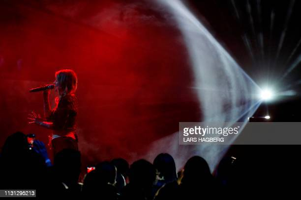 Canadian singer/songwriter Coeur de Pirate performs during the Juno Music Awards at Budweiser Gardens in London Ontario Canada on March 17 2019