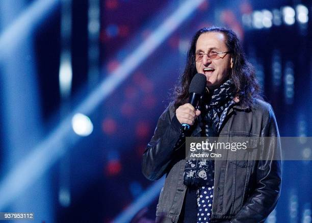 Canadian singersongwriter Geddy Lee speaks on stage during the 2018 JUNO Awards at Rogers Arena on March 25 2018 in Vancouver Canada