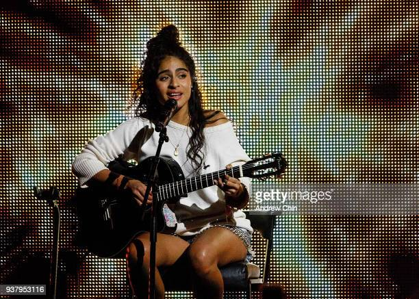 Canadian singersongwriter Jessie Reyez performs on stage during the 2018 JUNO Awards at Rogers Arena on March 25 2018 in Vancouver Canada