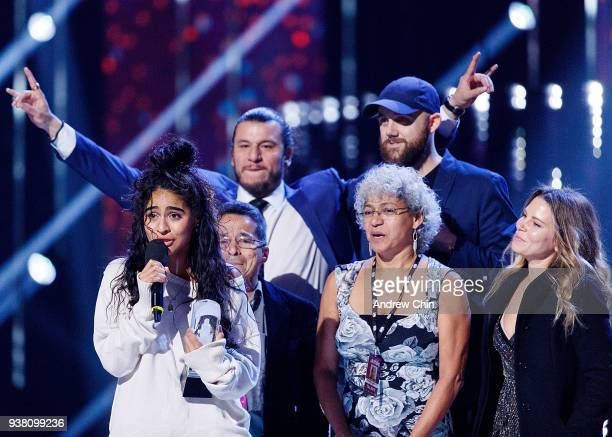 Canadian singersongwriter Jessie Reyez receives the award during the 2018 JUNO Awards at Rogers Arena on March 25 2018 in Vancouver Canada