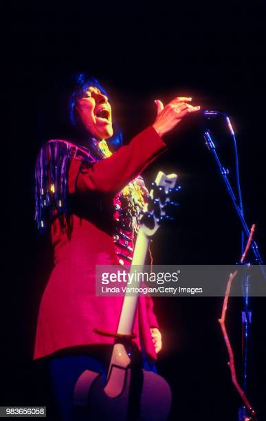 Canadian singersongwriter musician composer visual artist educator pacifist and social activist Buffy SainteMarie performs at the 14th Annual Roots...