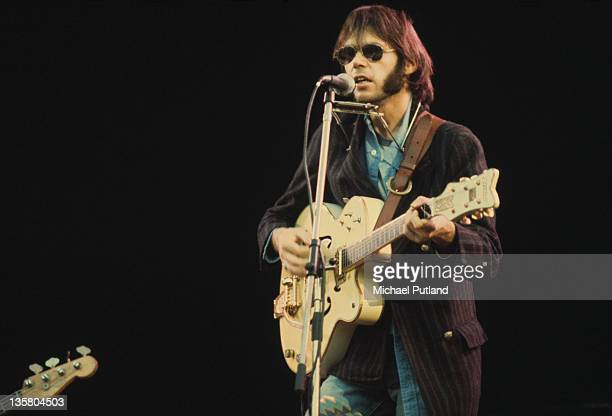Canadian singersongwriter Neil Young in concert circa 1970