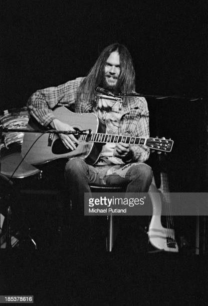 Canadian singersongwriter Neil Young performing at the Rainbow Theatre London 5th November 1973