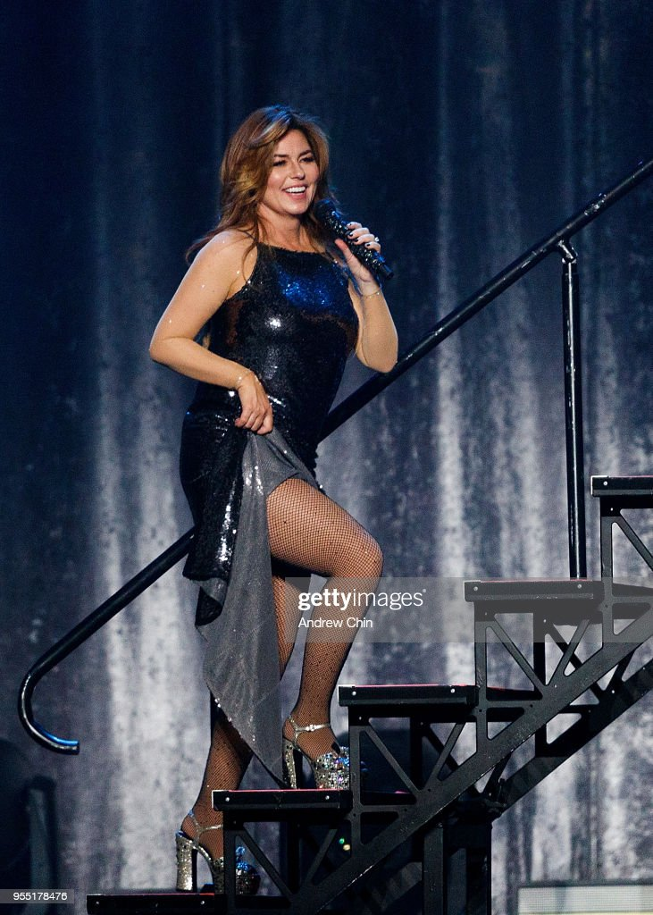 Canadian singer-songwriter Shania Twain performs on stage during her Now Tour at Rogers Arena on May 5, 2018 in Vancouver, Canada.