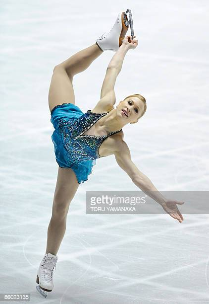 Canadian skater Joannie Rochette performs during her free skating in women's event of the World Team Trophy figure skating in Tokyo on April 18,...