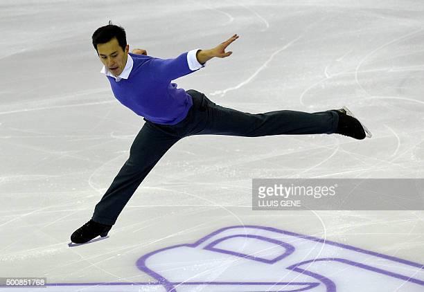 Canadian skater Patrick Chan competes during the Men Short program of the ISU Grand Prix of Figure Skating Final 2015 in Barcelona on December 10...