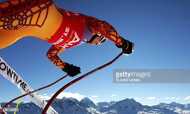 Canadian skier Britt Janyk downhill cup standings leader takes the starts during in the FIS Ski World Cup 2nd Women's downhill training session in St...