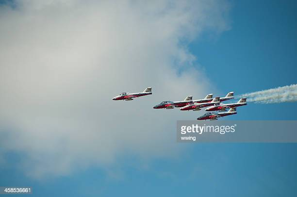 canadian snow birds in flight.. side view - canadian snowbird stock pictures, royalty-free photos & images
