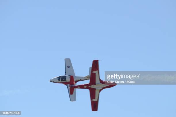 canadian snowbirds close fly by - canadian forces snowbirds stock pictures, royalty-free photos & images
